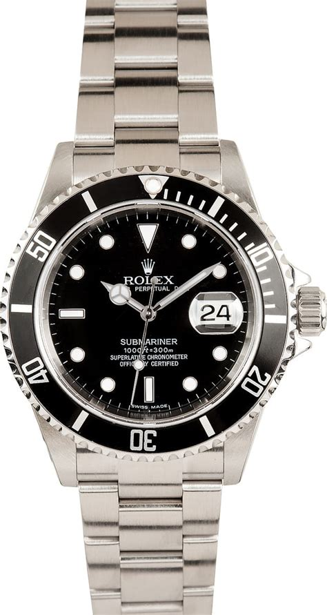 Pre-Owned Rolex Submariner 16610 no holes case at Bob's